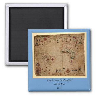 1633 carta de Portolan del océano de Atantic - Imán Cuadrado