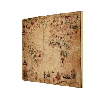 1633 carta de Portolan del océano de Atantic - Impresión En Lienzo