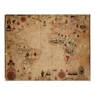 """1633 carta de Portolan del océano de Atantic - Invitación 4.25"""" X 5.5"""""""
