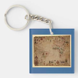 1633 carta de Portolan del océano de Atantic - Llavero Cuadrado Acrílico A Doble Cara