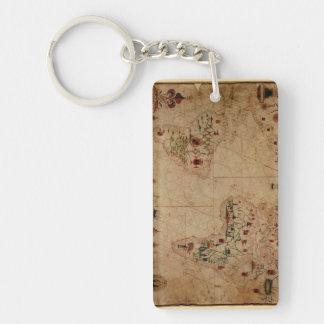 1633 carta de Portolan del océano de Atantic - Llavero Rectangular Acrílico A Doble Cara