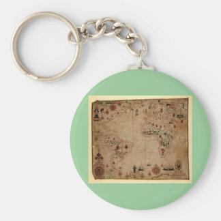 1633 carta de Portolan del océano de Atantic - Llavero Redondo Tipo Pin