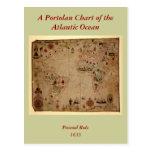 1633 carta de Portolan del océano de Atantic - Pas Tarjeta Postal
