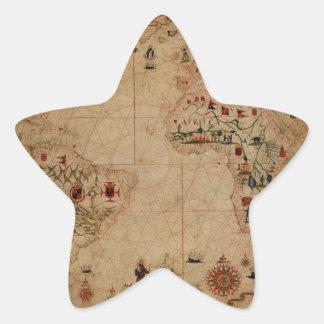 1633 carta de Portolan del océano de Atantic - Pegatina En Forma De Estrella