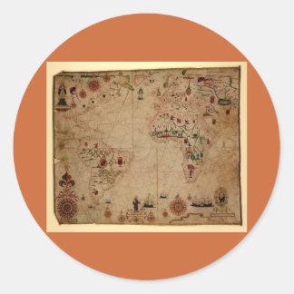 1633 carta de Portolan del océano de Atantic - Pegatina Redonda