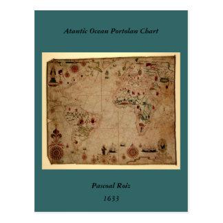 1633 carta de Portolan del océano de Atantic - Postal