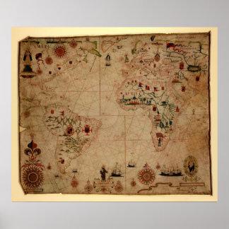 1633 carta de Portolan del océano de Atantic - Póster