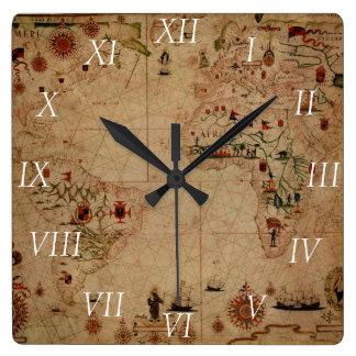 1633 carta de Portolan del océano de Atantic - Reloj Cuadrado