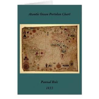 1633 carta de Portolan del océano de Atantic - Tarjeta De Felicitación