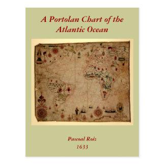 1633 carta de Portolan del océano de Atantic - Tarjeta Postal