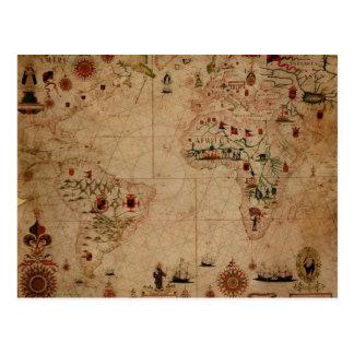 1633 carta de Portolan del océano de Atantic - Tarjetas Postales