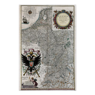 1634 Rhine and Moselle River Map Poster