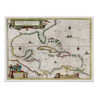 1635 Caribbean and Central America Poster