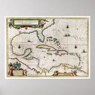 1635 del Caribe y America Central Póster