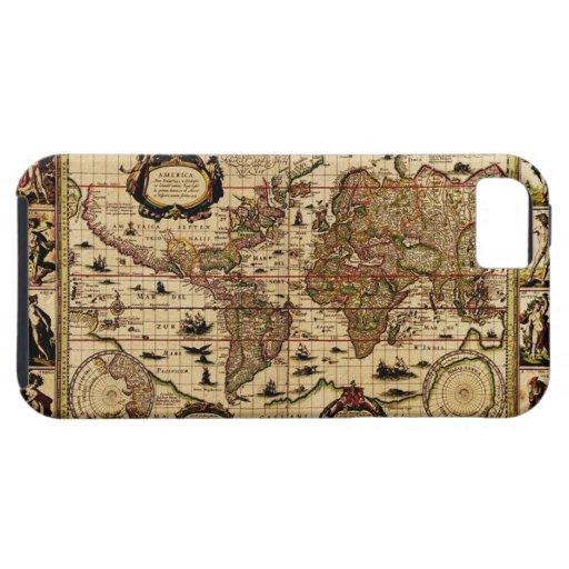 1635 Vintage Old Gold World Map iPhone 5 Case