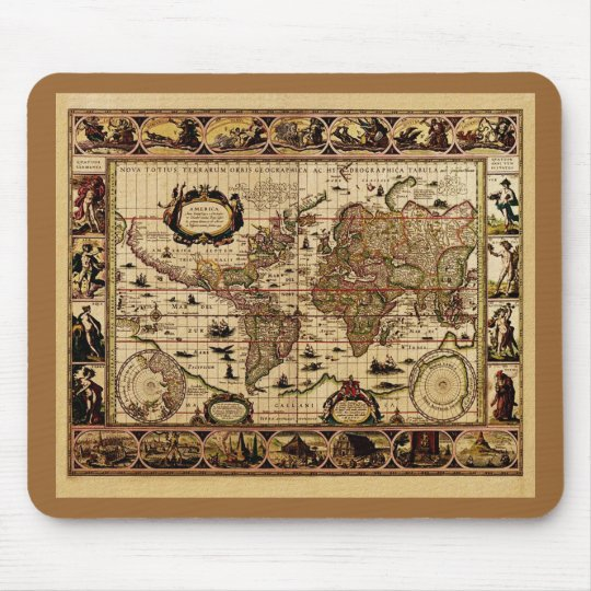 1635 World Map by Willem Blaeu Mousepad