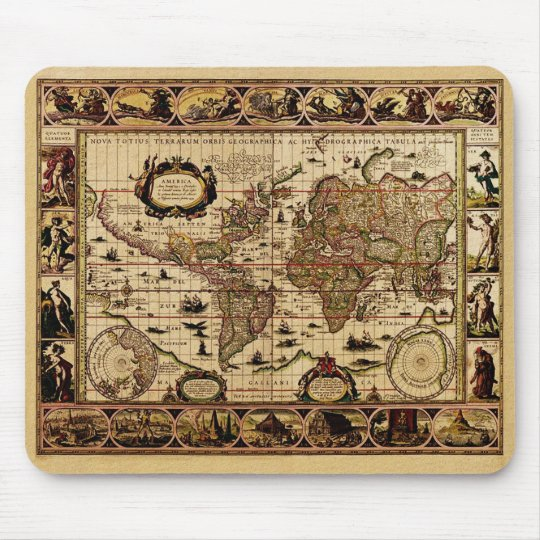 1635 World Map Mouse Pad