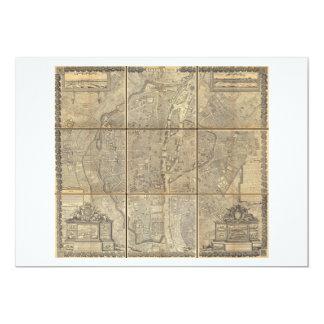 1652 Gomboust 9 Panel Map of Paris Personalized Invites