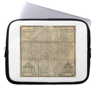 1652 Gomboust 9 Panel Map of Paris Laptop Sleeves