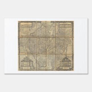 1652 Gomboust 9 Panel Map of Paris Yard Sign