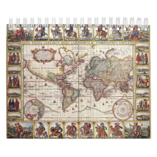 1652 Map of the World, Doncker Sea Atlas World Map Calendar