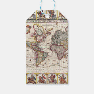 Antique world map gift tags zazzle 1652 map of the world doncker sea atlas world map gift tags gumiabroncs Image collections