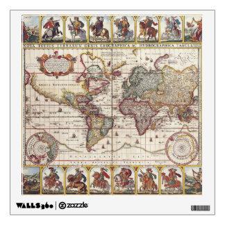 1652 Map of the World, Doncker Sea Atlas World Map Wall Sticker