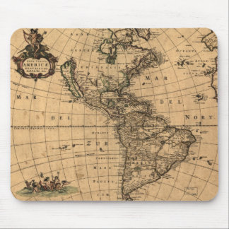 1660 - North and South America Historic Map Mouse Pad