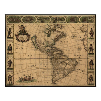 1660 - North and South America Historic Map Print