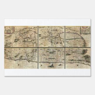 1662 Janson Hornius Holy Land Israel Palestine Map Yard Sign