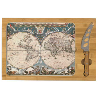 1664 Vintage Old World Map Cartography Design Cheese Board