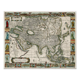 1666 Vintage Map of Asia Posters