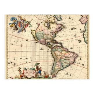 1670 America Map Postcard Post Cards