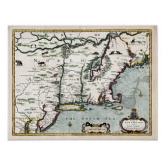 1676 Map of New England and New York Poster