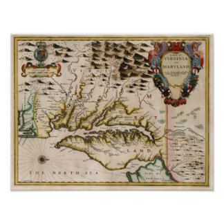 1676 Map of Virginia and Maryland Poster
