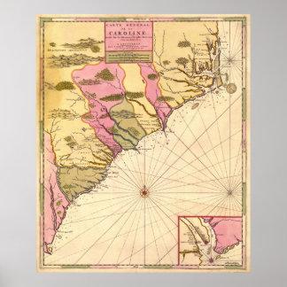 1683 South Carolina Map Poster