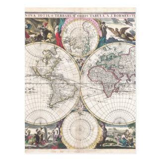 1685 Bormeester Map of the World Postcard