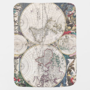 Vintage world map baby blankets zazzle 1685 bormeester map of the world swaddle blanket gumiabroncs Images