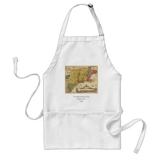1685 Map - New Belgium, The New World, New England Adult Apron
