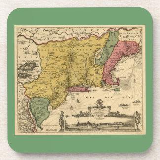 1685 Map - New Belgium, The New World, New England Beverage Coaster