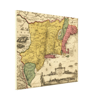 1685 Map - New Belgium, The New World, New England Canvas Print