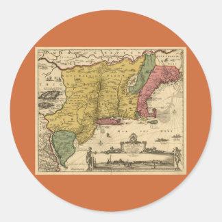 1685 Map - New Belgium, The New World, New England Classic Round Sticker
