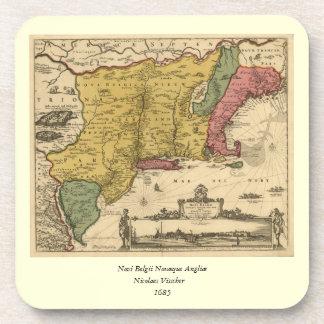1685 Map - New Belgium, The New World, New England Coaster