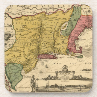 1685 Map - New Belgium, The New World, New England Drink Coaster