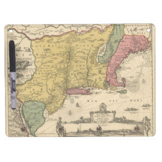 1685 Map - New Belgium, The New World, New England Dry Erase Board With Keychain Holder