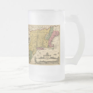 1685 Map - New Belgium, The New World, New England Frosted Glass Beer Mug