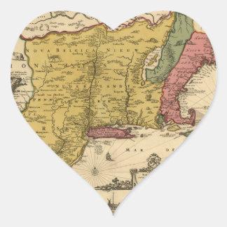 1685 Map - New Belgium, The New World, New England Heart Sticker