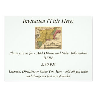 1685 Map - New Belgium, The New World, New England 6.5x8.75 Paper Invitation Card