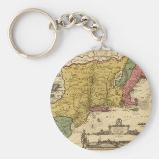 1685 Map - New Belgium, The New World, New England Keychain