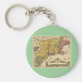 1685 Map - New Belgium, The New World, New England Key Chains